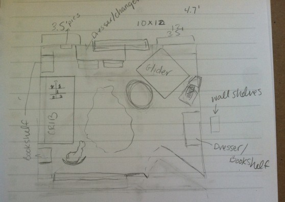 Here's one sketched idea for a nursery floor plan.