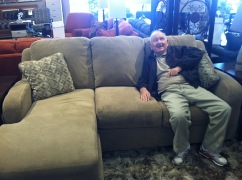 Gramps trying out his new sofa!