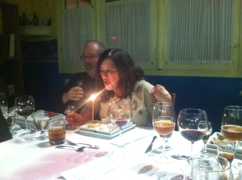 Mom making a wish!