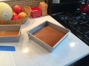 I poured the leftover caramel into two well-buttered baking pans and let those harden into yummy caramels!