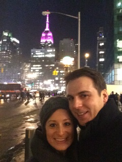Enjoying the romantic NYC atmosphere on our walk to dinner.