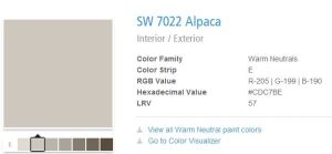The final selection... Sherwin Williams (which I could have sworn was actually SherMAN Williams) Alpaca.
