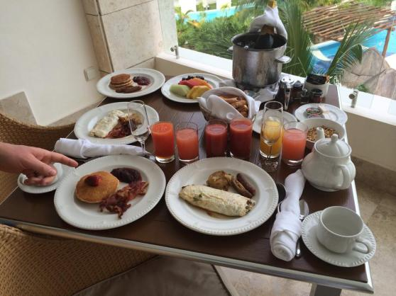 This could be why I gained so much weight this month... breakfast on our balcony.