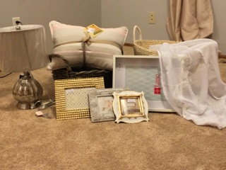 Mercury glass lamp, two throw pillos, storage basket, soft basket for toys, 4 picture frames for the gallery wall and two window panels in a cute sheer white with embroidery!