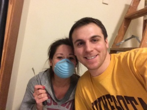 We paused for a picture... still happily painting for our baby girl :)