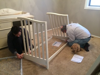 The crib was another quick and easy job (and of course, Toby helped).