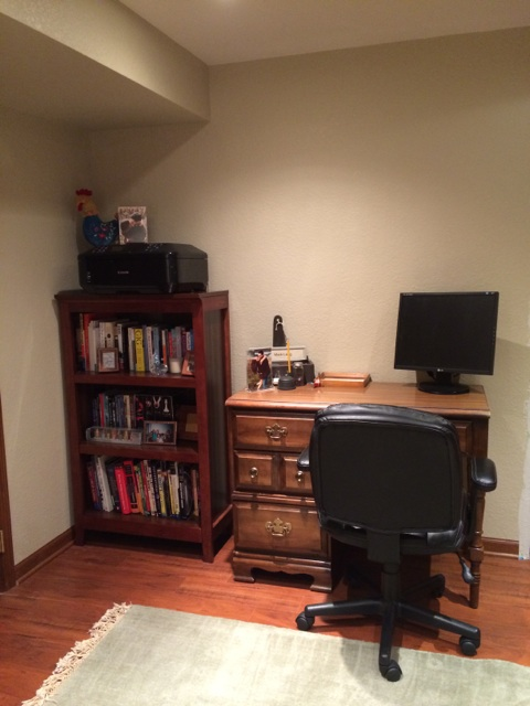 "Here's the little ""office nook"" in the guest bedroom."