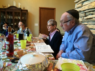 Mark's dad leading the Seder.
