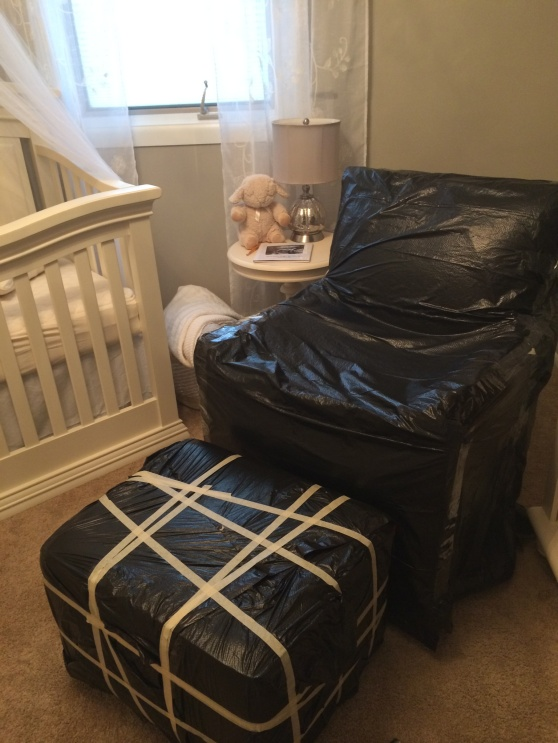 The original chair all wrapped up, compliments of my OCD husband :)