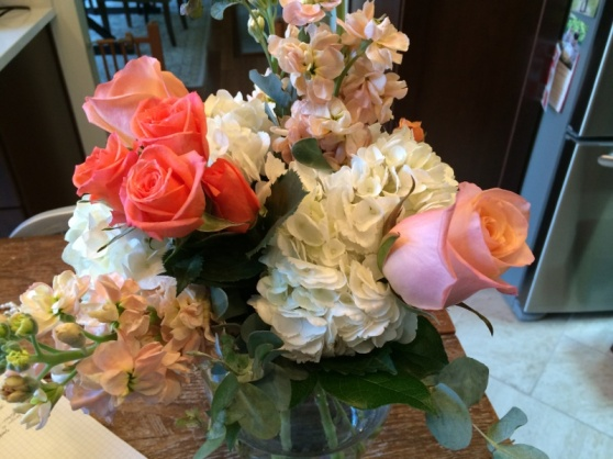 How gorg are these flower centerpieces? This pic is taken in my kitchen... yes, I was lucky enough to bring this prize home!