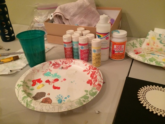 The paint selection... we used Martha Stewart paint, but any acrylic works.