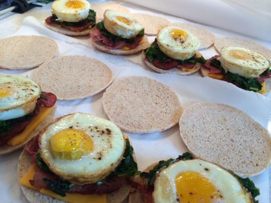 Today I decided to whip up some egg mcmuffins to freeze for baby time. I used sandwich thins, baked eggs, turkey bacon, and rainbow chard sautéed with green garlic.