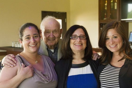 The sister, mom, & I - with a gramps photo bomb!