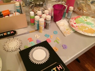 Craft table mess.