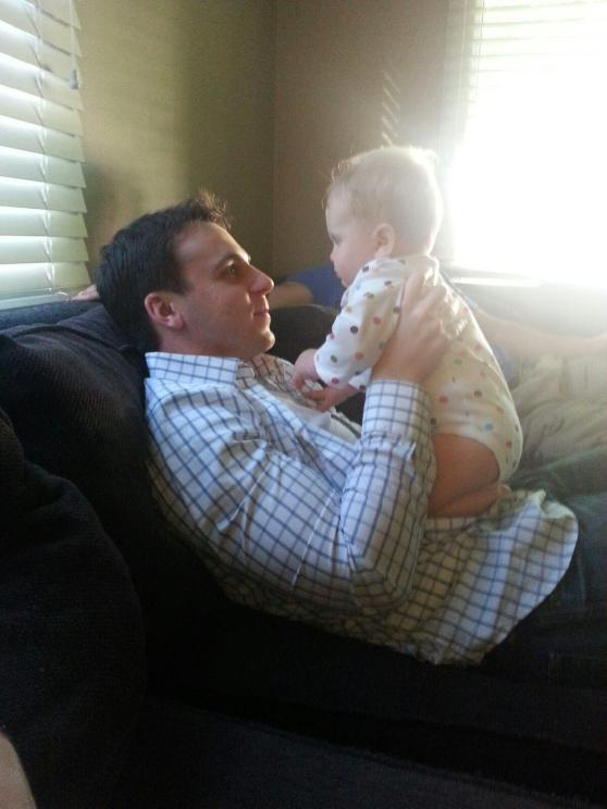 On Friday, Mark went to our friends' house to watch the World Cup and play with this tiny cutie...