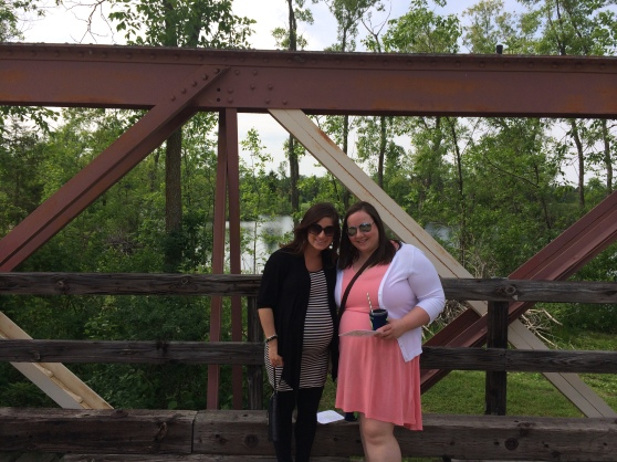 Jessica (the house guest) and I posing on the bridge. I must mention, the weather was perfect for an outdoor wedding.