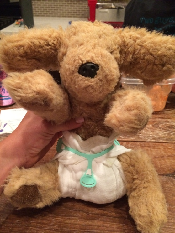 This is Mutsy, my childhood stuffed animal. Pretty cute in his little prefold diaper, huh?