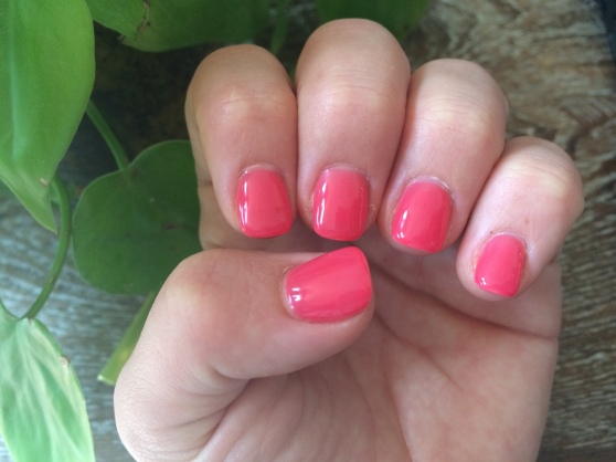 Saturday morning I went for a mani/pedi with mom, sis and my sweet niece. I chose a salmony pink.