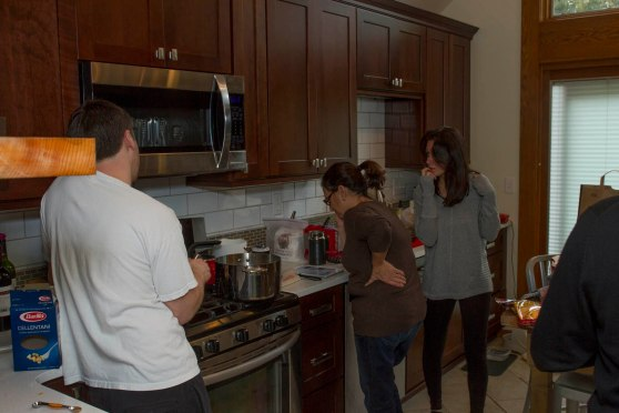 Mom, Stef & Mark cooking.