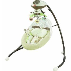 This isn't our exact swing, as ours is at least 5 years old, but it's Fisher-Price and looks pretty darn similar to this one.